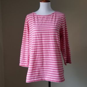 Ruby Rd. Blouse Top Sz L Pink White Stripe Knit
